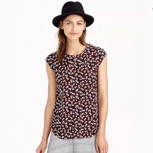 J. Crew Shattered Print Geometric Viscose Top
